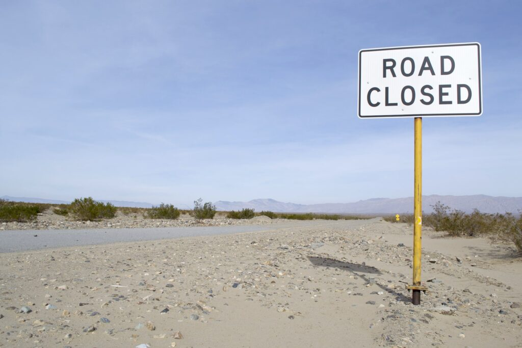 Road closed in Death Valley