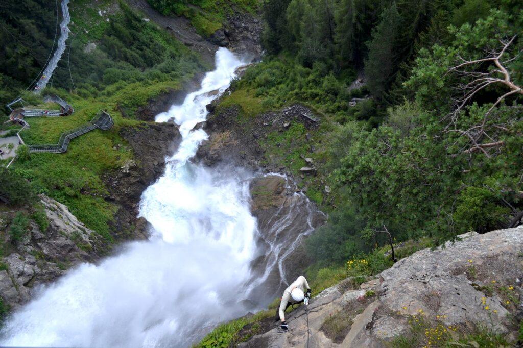 Via Ferrara / Klettersteig bij de Stuibenfall Umhausen in Tirol, Oostenrijk