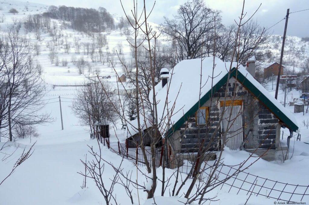 Sneeuwschoenwandelen in de winter