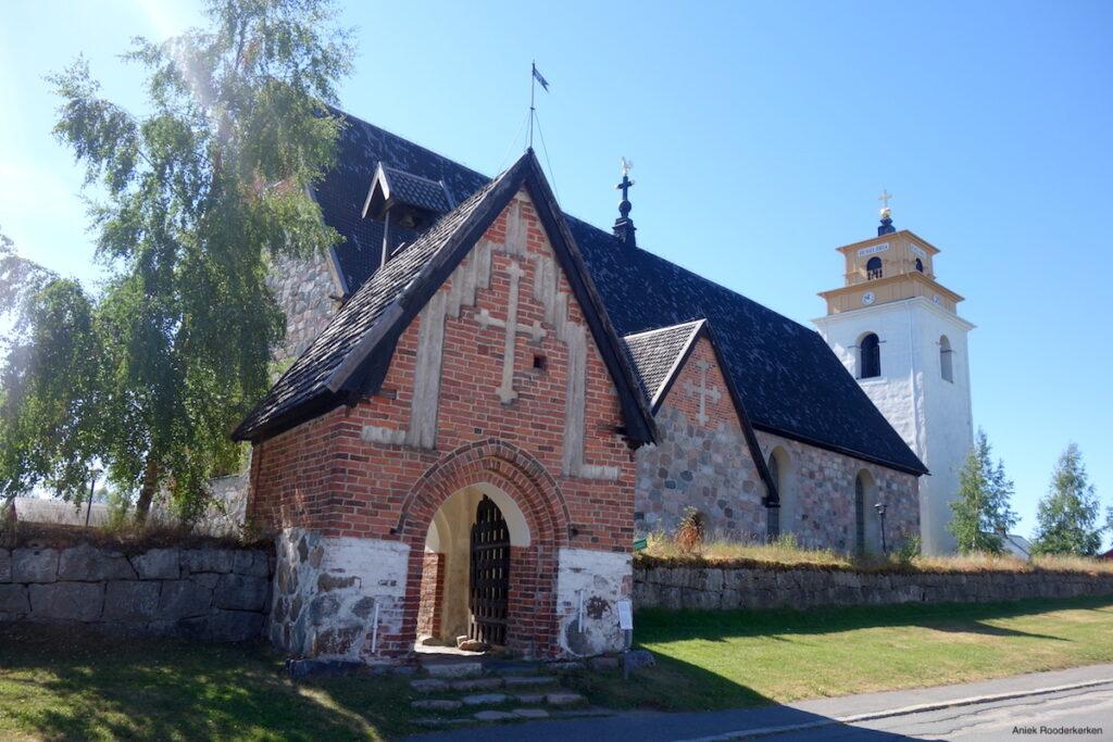 De kerk van Gammelstad in Zweeds Lapland