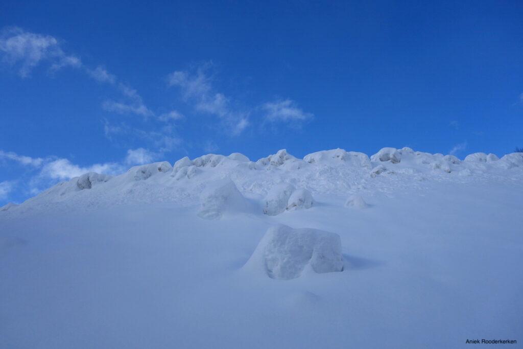 Een dikke pak sneeuw ligt er naast de wandelroute.