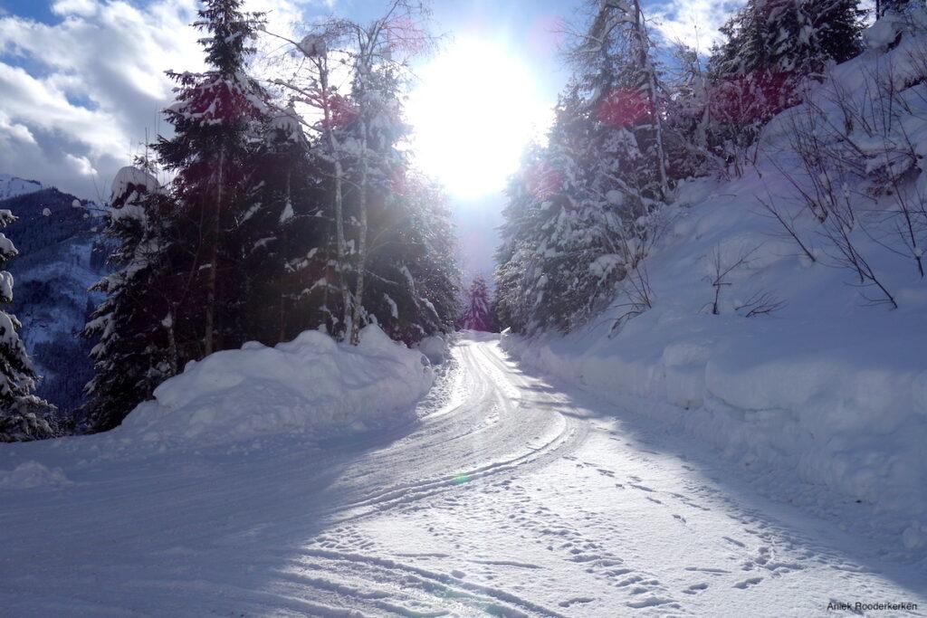 De zon zakt over de omgeving van Viehhofen.
