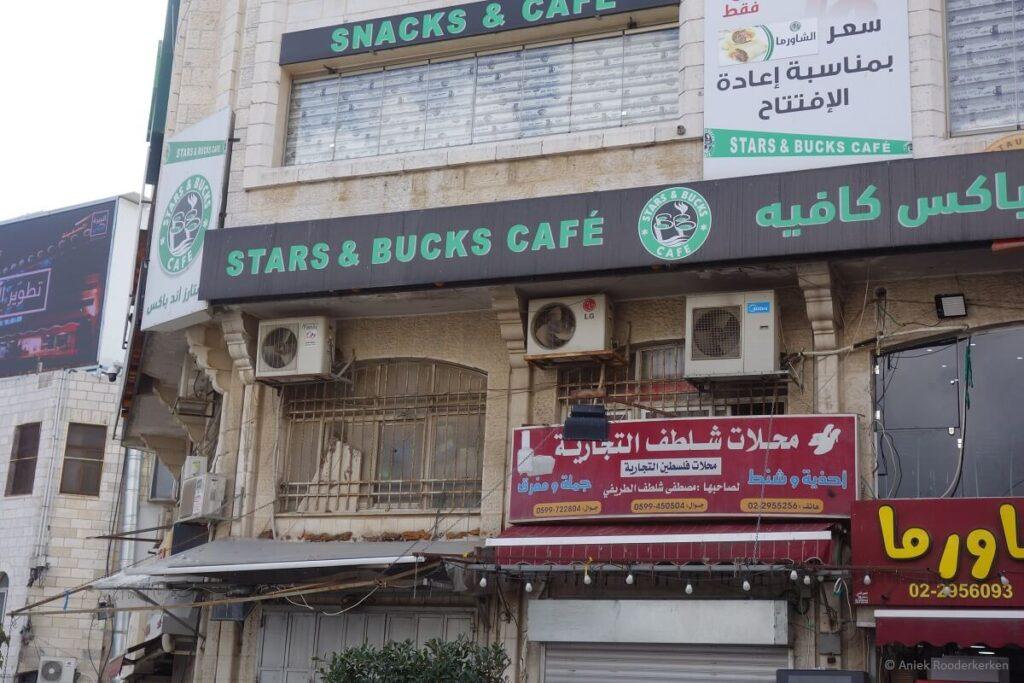 Stars and Bucks Coffee Ramallah in Palestina: De Westbank vanuit Jeruzalem