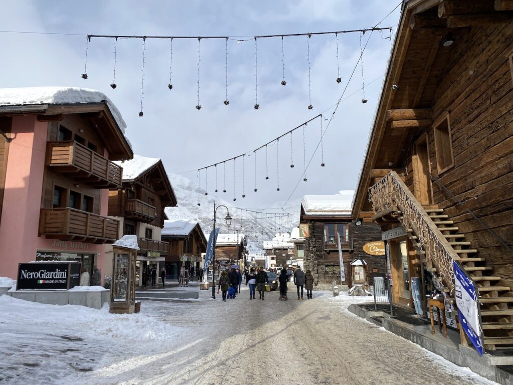 Het centrum van Livigno in de winter