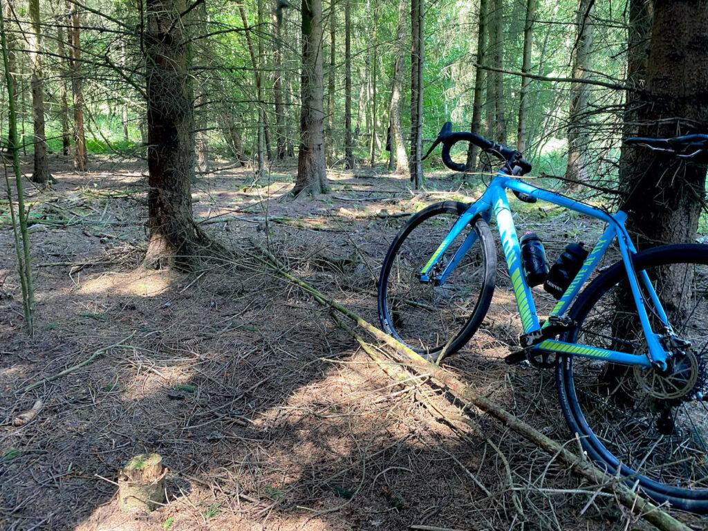 Hike-a-biken door het bos