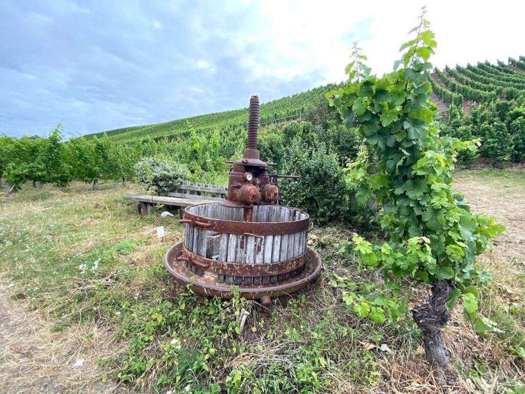 Oude houten wijnpers aan de oevers van de Moezel