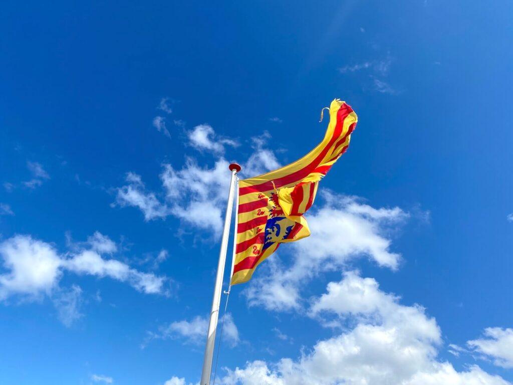 Een vlag wappert in de wind